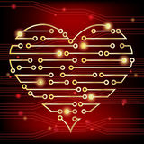 Circuit board heart Stock Photo