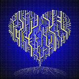 Circuit board in Heart shape Royalty Free Stock Image