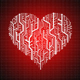 Circuit board in Heart shape Stock Image