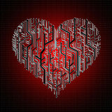 Circuit board in Heart shape Royalty Free Stock Photography
