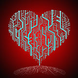 Circuit board in Heart shape with shadow Royalty Free Stock Photo