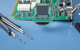 Circuit board with IC chips Royalty Free Stock Photography