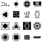 Circuit board icon set Royalty Free Stock Photography