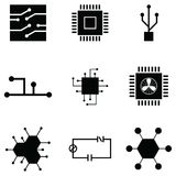 Circuit board icon set. The circuit of board icon set vector illustration