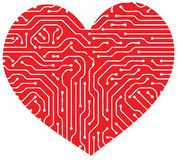 Circuit board. Illustration art of Circuit board with heart isolated background Stock Images