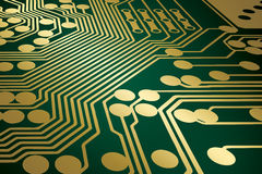 Circuit Board. Illustration of a green and gold printed circuit board in perspective stock illustration