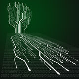 Circuit board illustration in tree shape Stock Photo