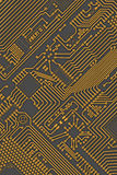Circuit board industrial yellow - gray background Royalty Free Stock Image