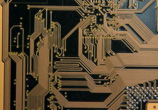 Circuit board and integrated circuits. Electronics: the circuit board and integrated circuits close up Royalty Free Stock Photos