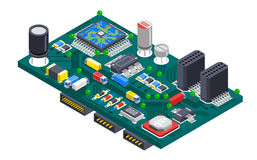 Circuit Board Isometric Concept. Semiconductor electronic circuit board isometric composition with silicon chips and cargo trucks driving on wire tracks vector Stock Image