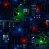 Circuit board with LED's and wires seamless pattern Stock Photography
