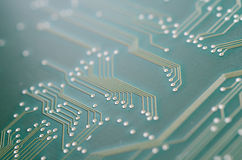Circuit board. Macro shot of a green printed circuit board Stock Image
