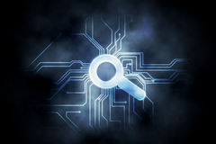 Circuit board and magnifying glass graphic Royalty Free Stock Photo