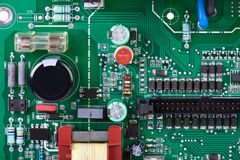 Circuit board with many electronic components Stock Image