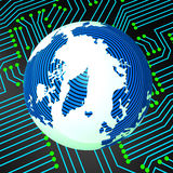 Circuit Board Means Worldwide Electronics And Earth Stock Photo