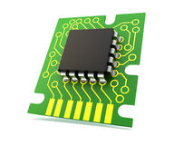 Circuit board with microchip Stock Photo