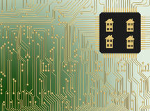 Circuit Board with microchip smart home Stock Photography