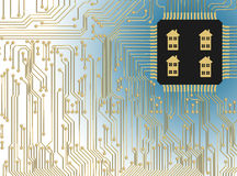 Circuit Board with microchip smart home Royalty Free Stock Photography
