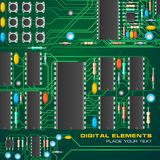 Circuit board with microchips. Vector illustration of green circuit board with microchips royalty free illustration