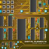 Circuit board with microchips. Creative detailed vector illustration of circuit board with microchips Stock Photography