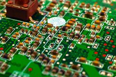 Circuit board with microchips Royalty Free Stock Photo