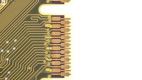 Circuit board moving down on white background stock video footage