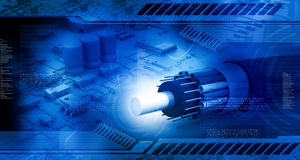 Circuit board with optic fiber cable. Technology background, circuit board with optic fiber cable Stock Image