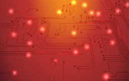 Circuit board orange background Royalty Free Stock Images