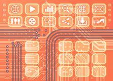 Circuit board orange stock photography