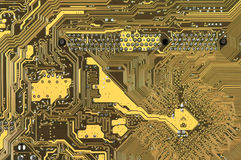 Circuit board pattern. Close-up of back side circuit board yellow pattern. Top view point Stock Photography
