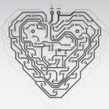 Circuit board pattern heart. Stock Images