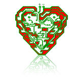 Circuit board pattern in the shape of the heart. Royalty Free Stock Image
