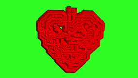 Circuit board pattern in the shape of the heart. Green screen background. animation. stock video