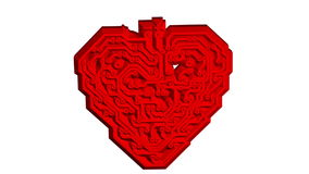 Circuit board pattern in the shape of the heart. White screen background. animation. stock video footage