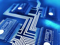 Circuit board with processors and computer chips Stock Photos