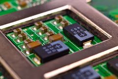 Circuit board with processors Royalty Free Stock Photography