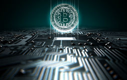 Circuit Board Projecting Bitcoin. A 3D render of a macro view of a circuit board with a digital bitcoin projecting above it on a dark background Stock Image