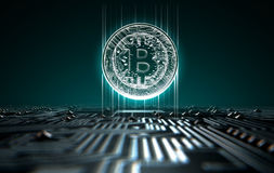 Circuit Board Projecting Bitcoin. A 3D render of a macro view of a circuit board with a digital bitcoin projecting above it on a dark background Royalty Free Stock Photo