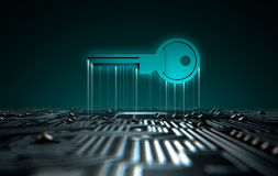 Circuit Board Projecting Key Royalty Free Stock Images