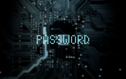Circuit Board Projecting Password. A 3D render of a macro view of a circuit board with blue digital text projecting above it saying password on a dark background Royalty Free Stock Image