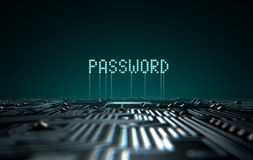 Circuit Board Projecting Password. A 3D render of a macro view of a circuit board with blue digital text projecting above it saying password on a dark background Royalty Free Stock Images
