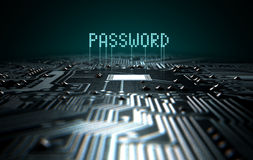 Circuit Board Projecting Password Stock Photos