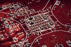 Circuit Board Red Under View Red. The CPU underview on a red circuit board red colour Royalty Free Stock Images