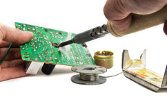 Circuit board repair. Royalty Free Stock Photos