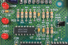 Circuit Board with Resistors and LEDs Stock Photo