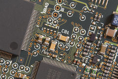 Circuit board with resistors and microprocessors Stock Photography