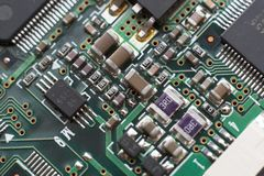 Circuit board with resistors and microprocessors Stock Images