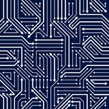 Circuit Board Seamless Pattern, Vector Background. Microchip Tec