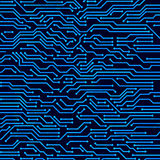 Circuit board seamless vector background. Stock Photo