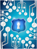 Circuit board security shield illustration Stock Image